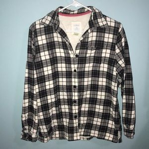Cozy flannel button down w/ fleece lining